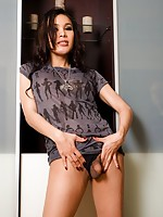 Ladyboy Lindas cock pops from her thin black panties