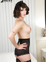 Stunning statuesque transwoman Nina Lawless is back sexy as hell! TS Nina has a sexy body, long hot legs, a great ass and a sexy huge cock that she likes to use! Watch as Nina inserts her trendy buttplugg before she jacks off!