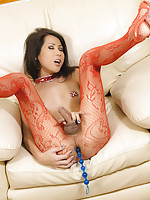 Ladyboy showgirl Lisa is sprung with anal beads in her tight ass